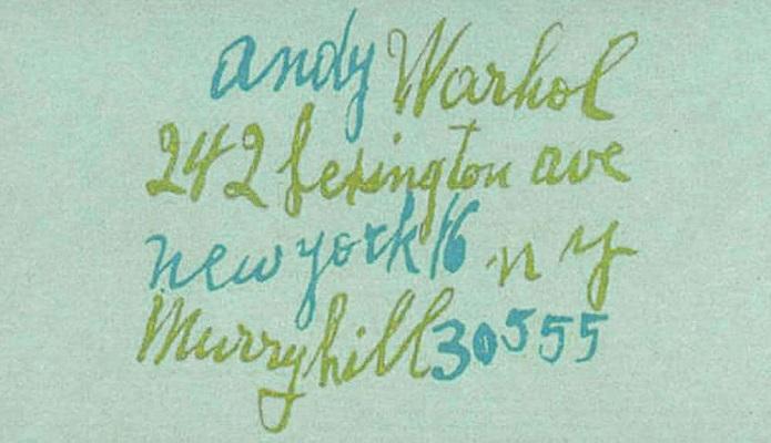 Визитка Энди Уорхола - просто его контакты, написанные его почерком