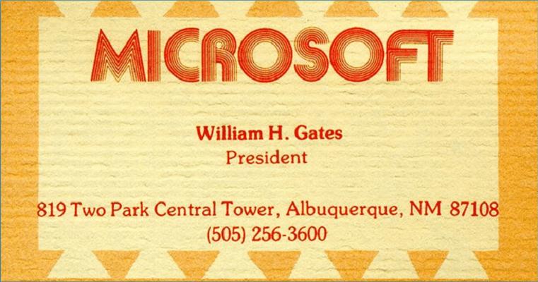 Визитка Билла Гейтса - привет из 1979