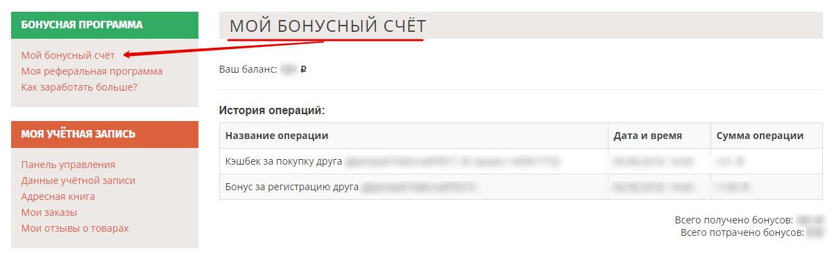 """Принт-скрин раздела личного кабинета """"Мой бонусный счёт"""""""