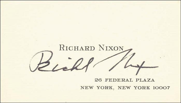 Визитка 37 президента США Ричарда Никсона